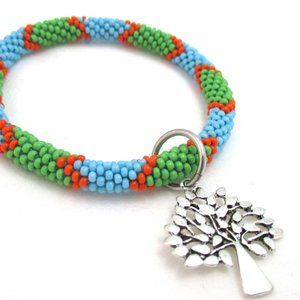 Jewelry - Glass Bead Crochet Roll On Bangle w/ Tree Charm